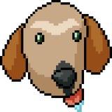 Perro del arte del pixel del vector tonto ilustración del vector
