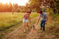Perro del barro amasado de los pares que camina jovenes en el perrito feliz del bosque del otoño que corre adelante y que se divi imágenes de archivo libres de regalías