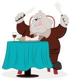 Perro del boxeador en la tabla de cena Imagenes de archivo