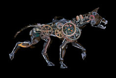 Perro del Cyborg del robot de Steampunk aislado imagenes de archivo