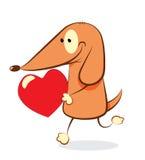 Perro del día de tarjeta del día de San Valentín Imagenes de archivo