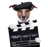 Perro del director de la tarjeta de chapaleta de la película Fotos de archivo