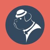 Perro del gángster de la silueta en el sombrero de la mafia Fotos de archivo