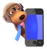 perro del piloto 3d detrás de un smartphone Fotos de archivo libres de regalías