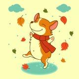 Perro del vector que salta en los charcos del otoño Perro del corgi Galés Para Navidad, cartel del Año Nuevo, calendario