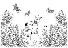Perro del zentangl del ejemplo del vector en flores Dibujo floral del garabato Ejercicios meditativos Tensión anti del libro de c ilustración del vector