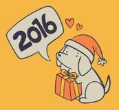 Perro dibujado mano que lleva a cabo un presente y que desea una Feliz Año Nuevo Fotografía de archivo libre de regalías