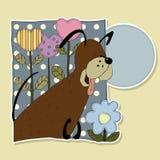 Perro divertido con las flores en un fondo de lunares Stock de ilustración