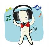Perro divertido de la historieta en auriculares grandes Imagenes de archivo