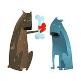 Perro divertido en el amor que presenta el hueso al amigo Foto de archivo