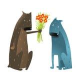 Perro divertido en el amor que presenta las flores al amigo Fotos de archivo
