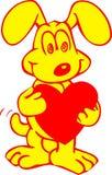 Perro dulce con un corazón ilustración del vector