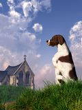Perro e iglesia ilustración del vector