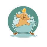 Perro en baño stock de ilustración