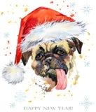 Perro en el ejemplo de la acuarela del sombrero de santa Tarjeta de felicitación de la Feliz Año Nuevo Diseño de la plantilla de  stock de ilustración