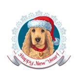 Perro en el sombrero de santa label stock de ilustración