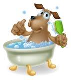 Perro en historieta del baño de burbujas Fotografía de archivo