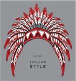Perro en la cucaracha india coloreada Tocado indio de la pluma del águila Tienda extrema del deporte Fotos de archivo
