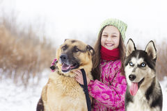 Perro esquimal de And del pastor del niño y del perro Fotos de archivo