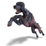 Perro extranjero espeluznante fuera del infierno. representación 3D con Imagen de archivo