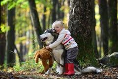 Perro fornido del abarcamiento de la niña en parque del otoño Fotografía de archivo