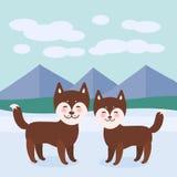 Perro fornido marrón divertido de Kawaii, cara con los ojos grandes y las mejillas rosadas, muchacho y muchacha, fondo del paisaj Imagen de archivo libre de regalías