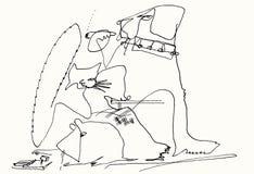 Perro, gato y ratón en casa stock de ilustración
