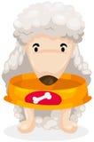 Perro hambriento con el tazón de fuente vacío del alimento libre illustration