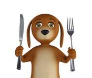 Perro hambriento de la historieta con el cuchillo y la bifurcación Aislado en el fondo blanco 3d rinden libre illustration