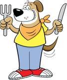 Perro hambriento de la historieta que sostiene un cuchillo y una bifurcación stock de ilustración