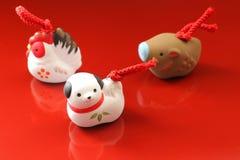 Perro japonés y zodiacos del Año Nuevo Fotografía de archivo libre de regalías