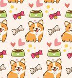 Perro lindo con los juguetes y el fondo del kawaii de la comida stock de ilustración