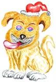 Perro lindo de la Navidad Fotos de archivo libres de regalías