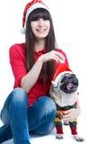 Perro lindo de la Navidad Foto de archivo libre de regalías