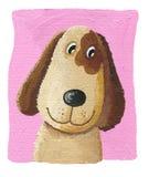 Perro lindo en el fondo rosado Foto de archivo libre de regalías
