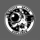 Perro lindo en traje de espacio en espacio stock de ilustración