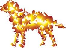 Perro liso en colores del fuego Aliste para atacar ilustración del vector