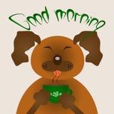 Perro marrón divertido con una taza verde Buena mañana del título Caricatura Imágenes de archivo libres de regalías