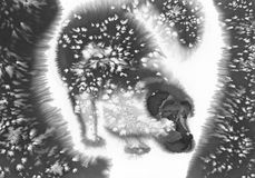 Perro negro en la acuarela de la tormenta Fotos de archivo libres de regalías