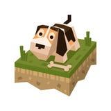 Perro plano isométrico en la teja de la tierra Foto de archivo libre de regalías