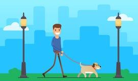 Perro que camina del hombre al aire libre Foto de archivo
