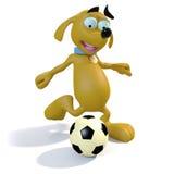 Perro que juega a fútbol Fotos de archivo