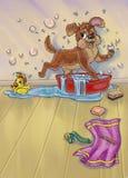 Perro que se lava stock de ilustración