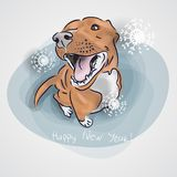 Perro, símbolo del Año Nuevo 2018 perro rojo que se sienta en la forma del ` de la Feliz Año Nuevo del ` de las letras Elemento p Imagen de archivo