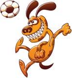 Perro valiente que dirige un balón de fútbol libre illustration