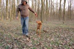 Perro y amo Imagen de archivo libre de regalías