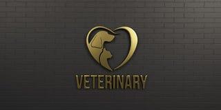 Perro y Cat Gold Logo veterinarios en diseño negro de la pared 3d rinden la ilustración Foto de archivo libre de regalías