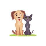Perro y gato de la historieta en el fondo blanco Ejemplo de los amigos Foto de archivo libre de regalías