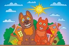 Perro y gato, verano Imagen de archivo libre de regalías