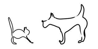 Perro y un gato Imagen de archivo